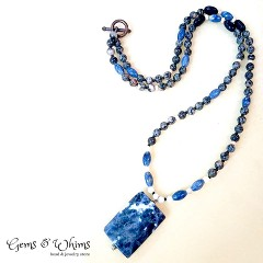 Sodalite, bone and lava for a beautiful senterpiece.