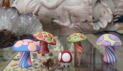 Polymer Clay mushrooms of all sizes both for display and for beading!
